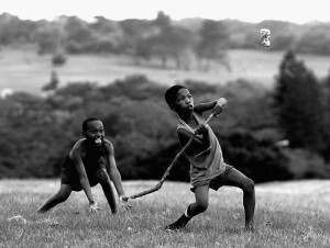 Children Playing Cricket In South Africa
