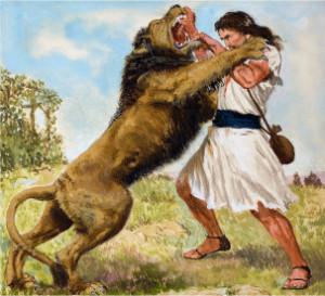 David-fighting-a-Lion