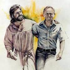 jesus-smiling-walking-with-modern-man